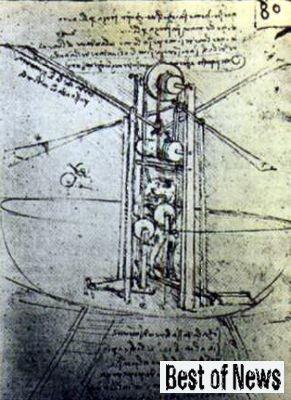 Схема-рисунок летательного аппарата Леонардо да Винчи