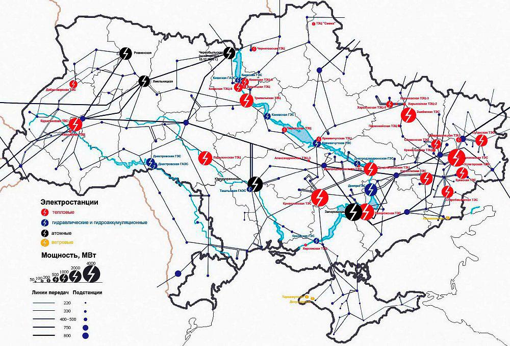 Электроснабжение Крыма - карта