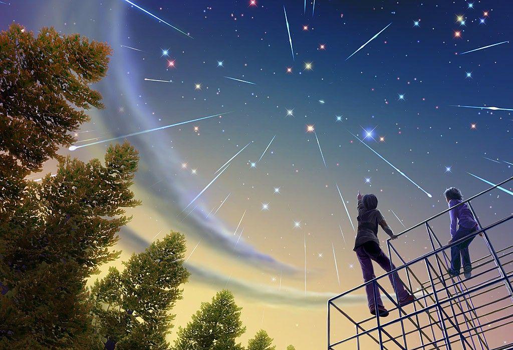 Яркий звездопад в августе 2016